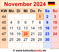 Kalender November 2024