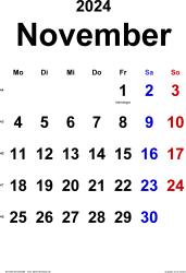 Kalender November 2024 im Hochformat, klassisch