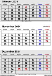 3-Monats-Kalender Oktober/November/Dezember 2024 im Hochformat