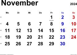 Kalender November 2024 im Querformat, klassisch