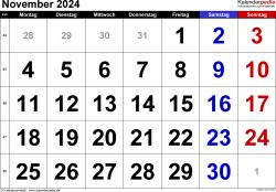 Kalender November 2024 im Querformat, grosse Ziffern