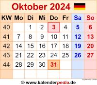 Kalender Oktober 2024