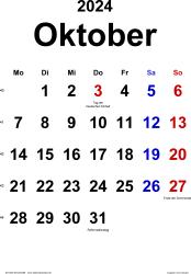 Kalender Oktober 2024 im Hochformat, klassisch