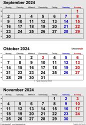 3-Monats-Kalender September/Oktober/November 2024 im Hochformat