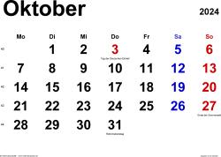 Kalender Oktober 2024 im Querformat, klassisch