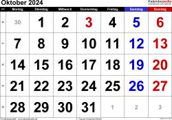 Kalender Oktober 2024 im Querformat, grosse Ziffern