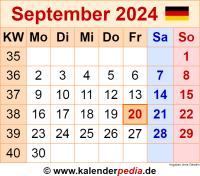 Kalender September 2024