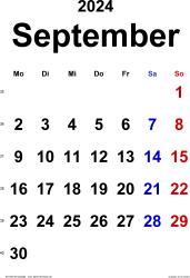 Kalender September 2024 im Hochformat, klassisch