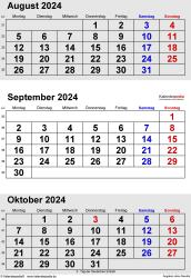 3-Monats-Kalender August/September/Oktober 2024 im Hochformat