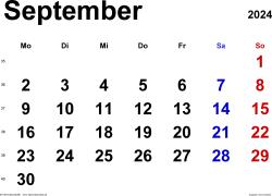 Kalender September 2024 im Querformat, klassisch