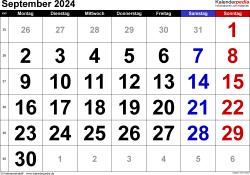 Kalender September 2024 im Querformat, grosse Ziffern