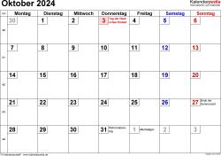 Kalender Oktober 2024 im Querformat, kleine Ziffern