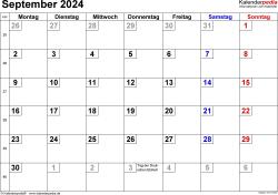 Kalender September 2024 im Querformat, kleine Ziffern