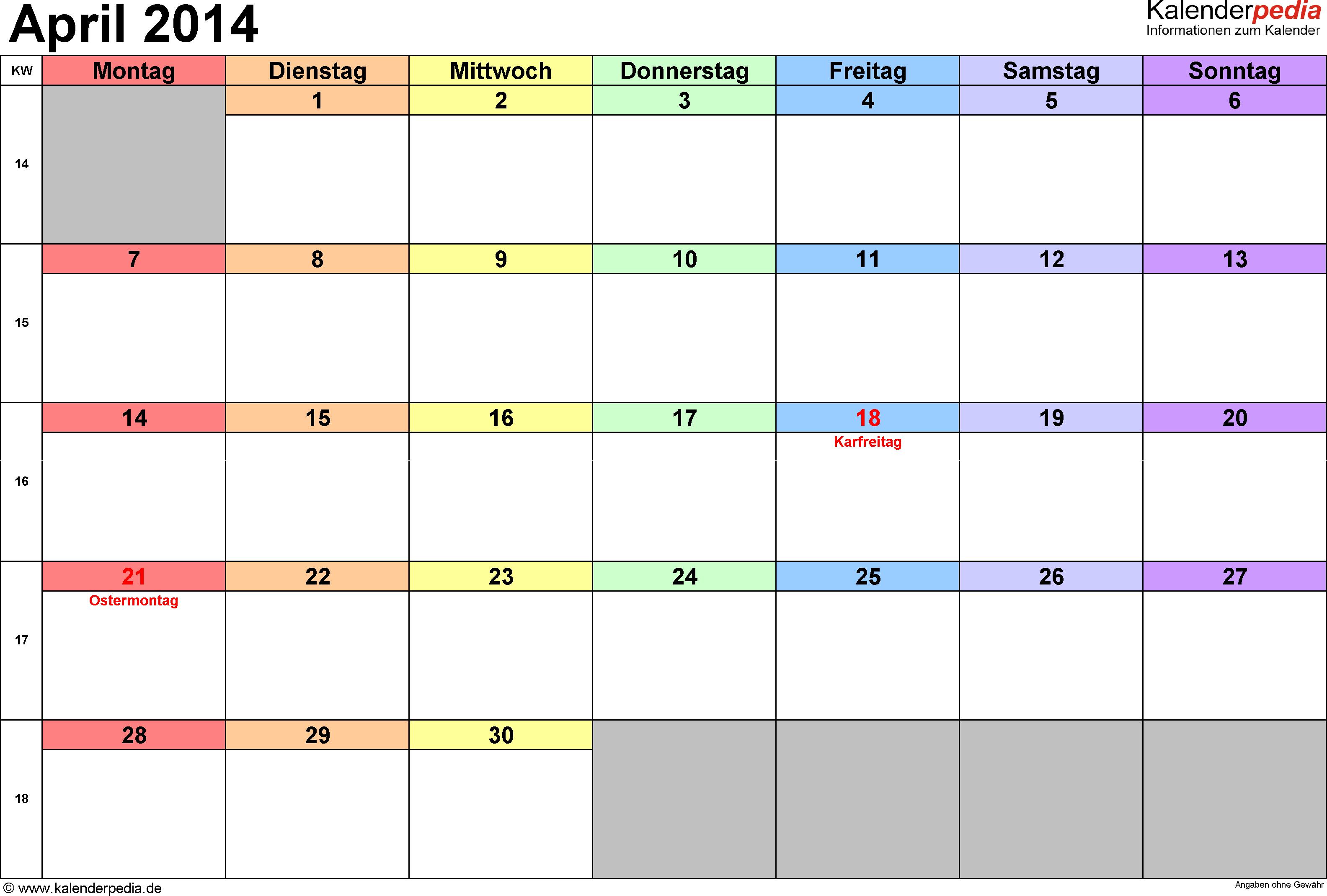 Kalender April 2014 (Querformat) als PDF-Vorlage