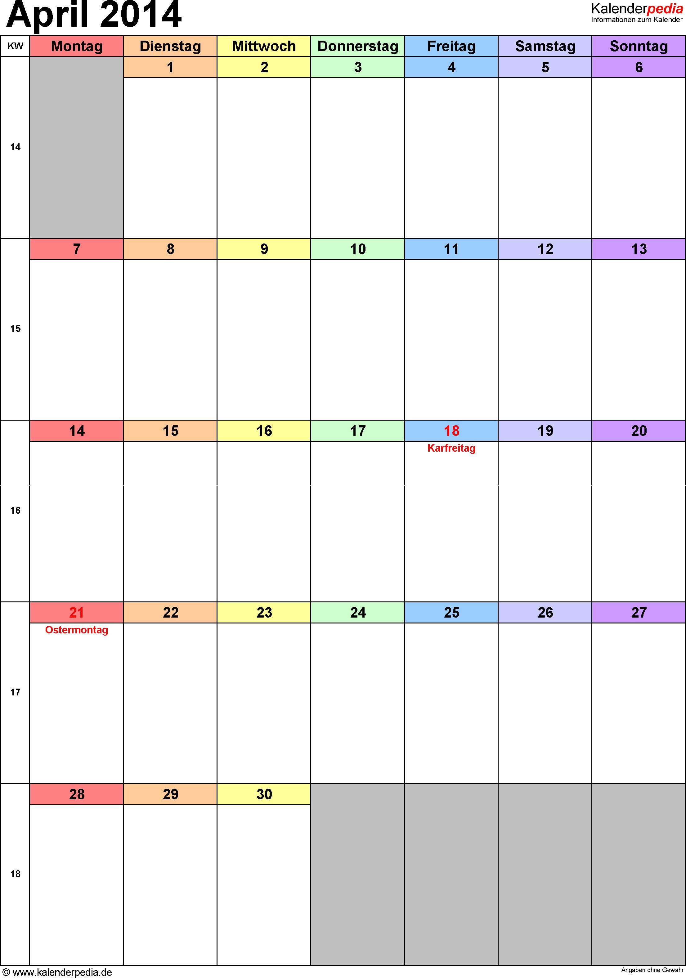 Kalender April 2014 (Hochformat) als PDF-Vorlage