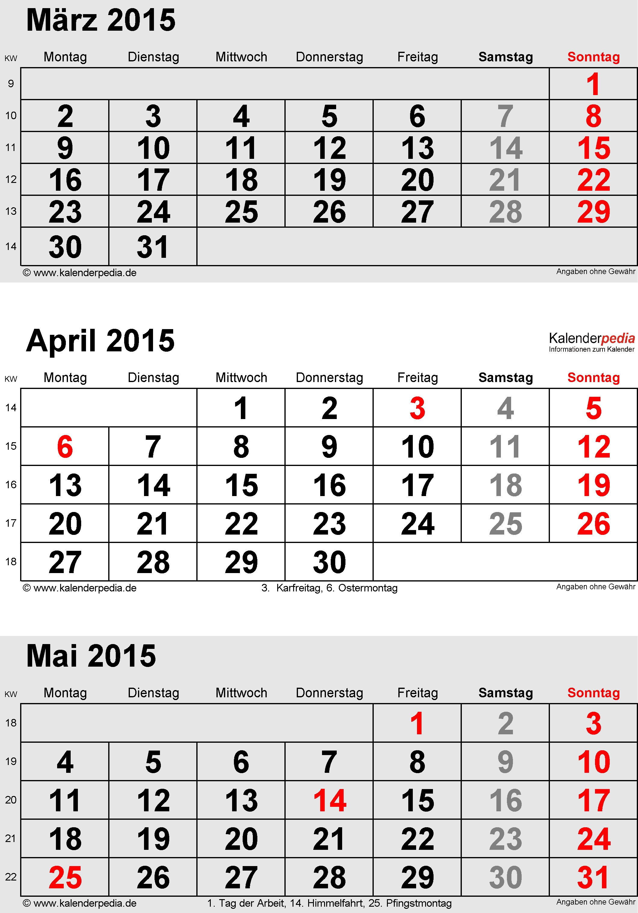 Kalender April 2015 als PDF-Vorlagen