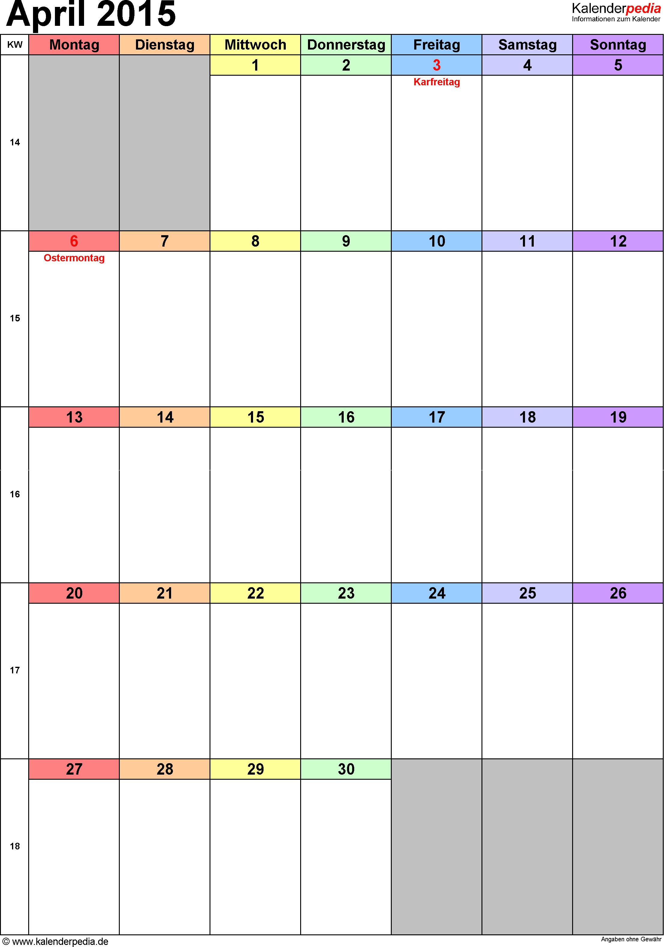 Kalender April 2015 (Hochformat) als PDF-Vorlage