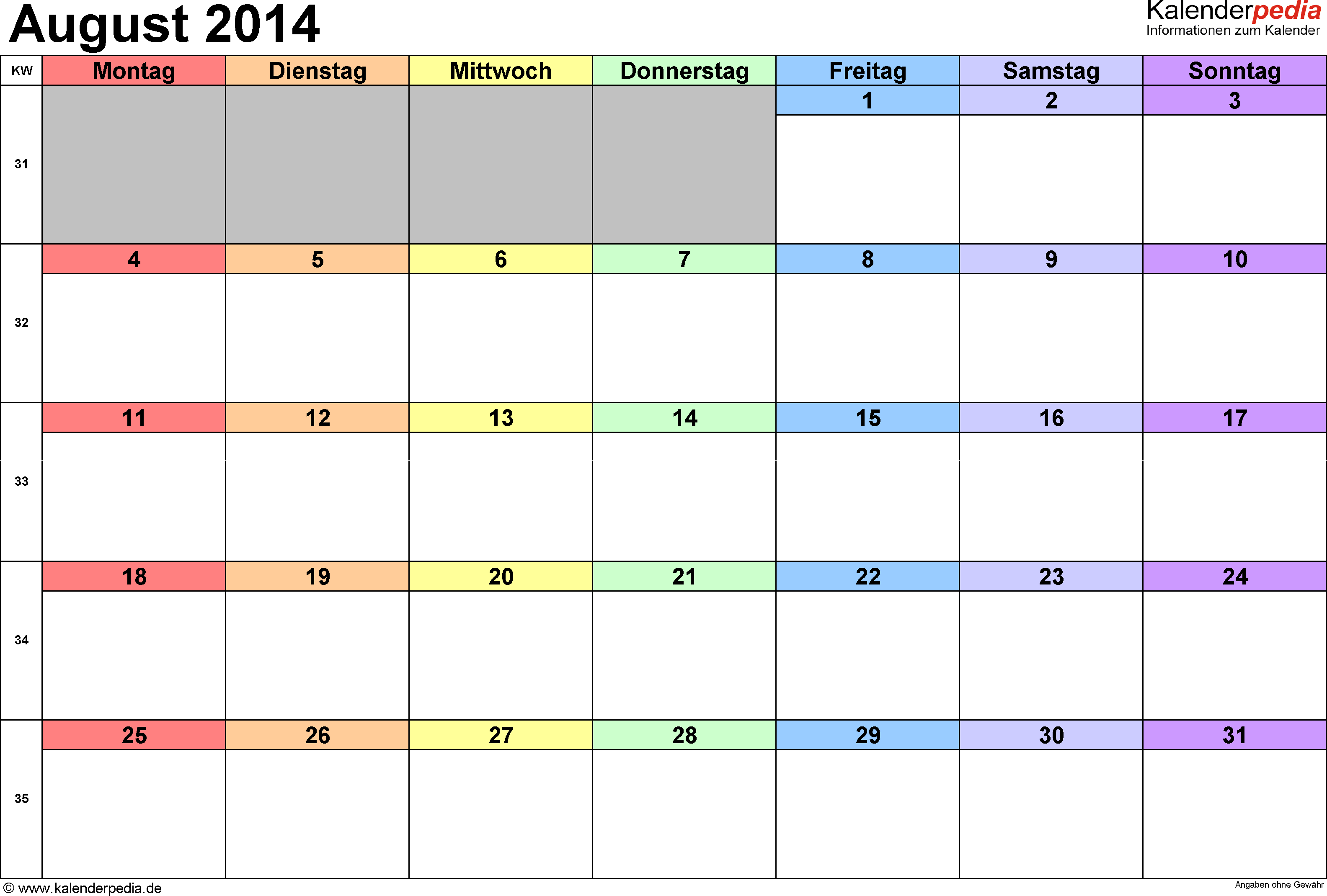 Kalender August 2014 (Querformat) als Word-Vorlage