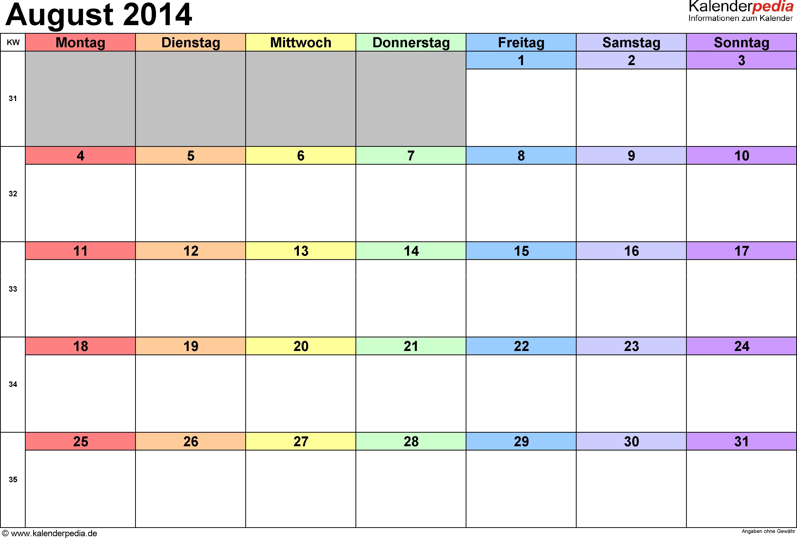 Kalender August 2014 (Querformat) als Excel-Vorlage