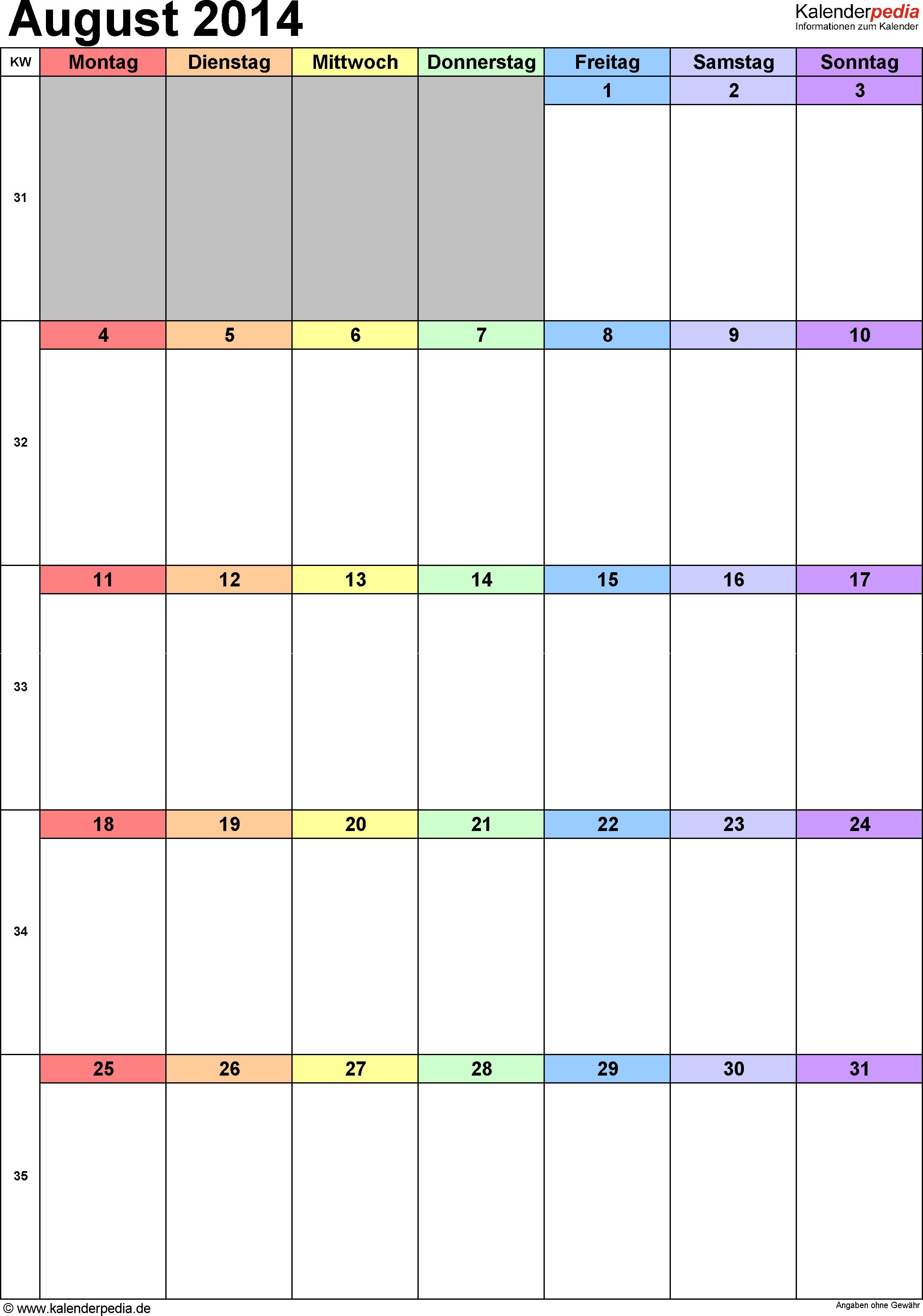 Kalender August 2014 (Hochformat) als Excel-Vorlage