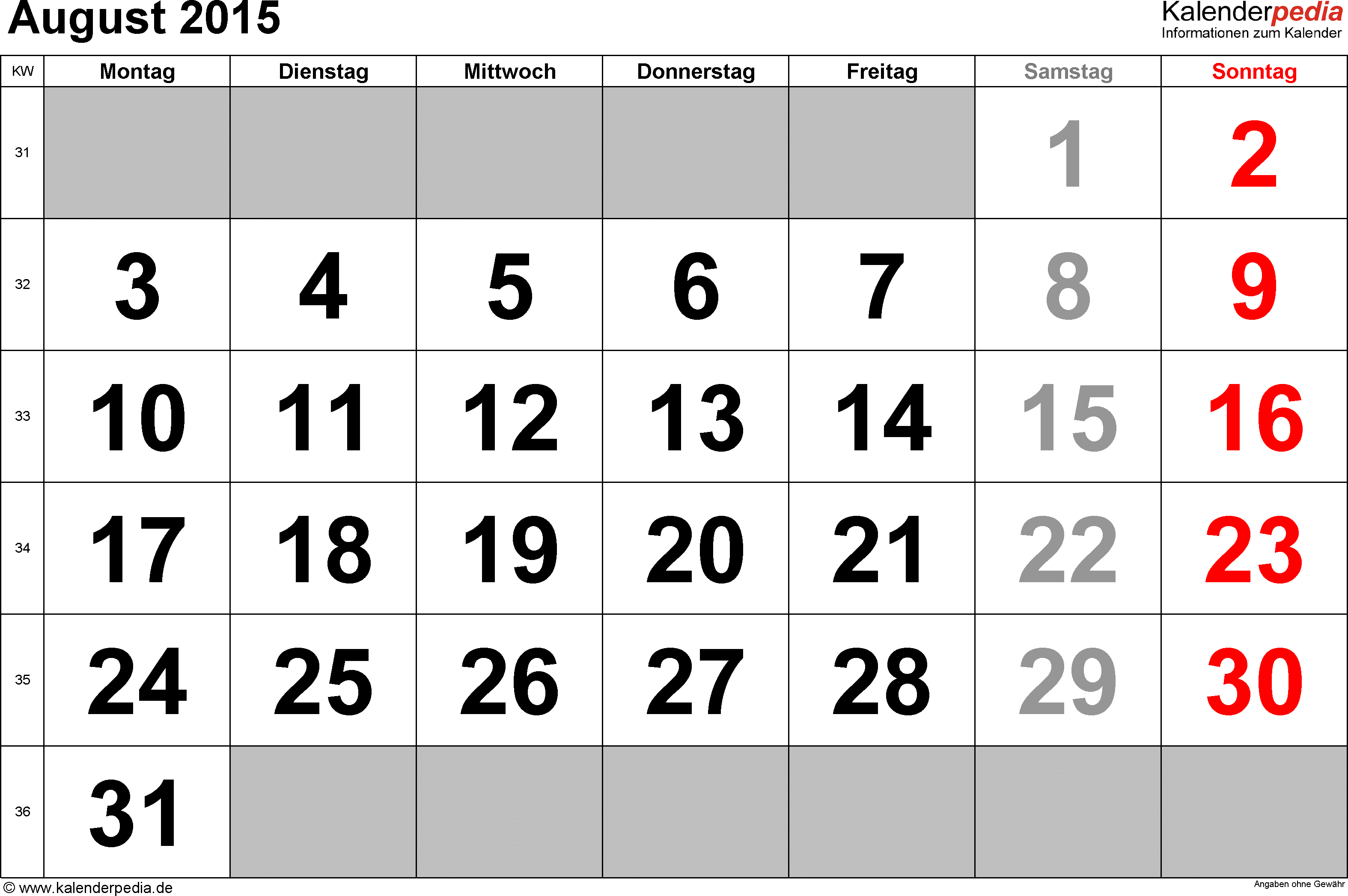 Kalender August 2015 im Querformat, grosse Ziffern