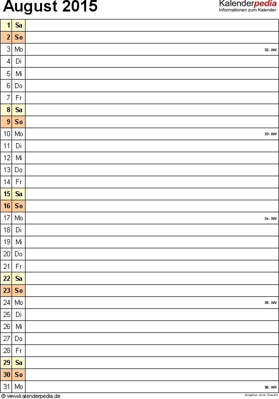 Kalender August 2015 (Hochformat) als Excel-Vorlage