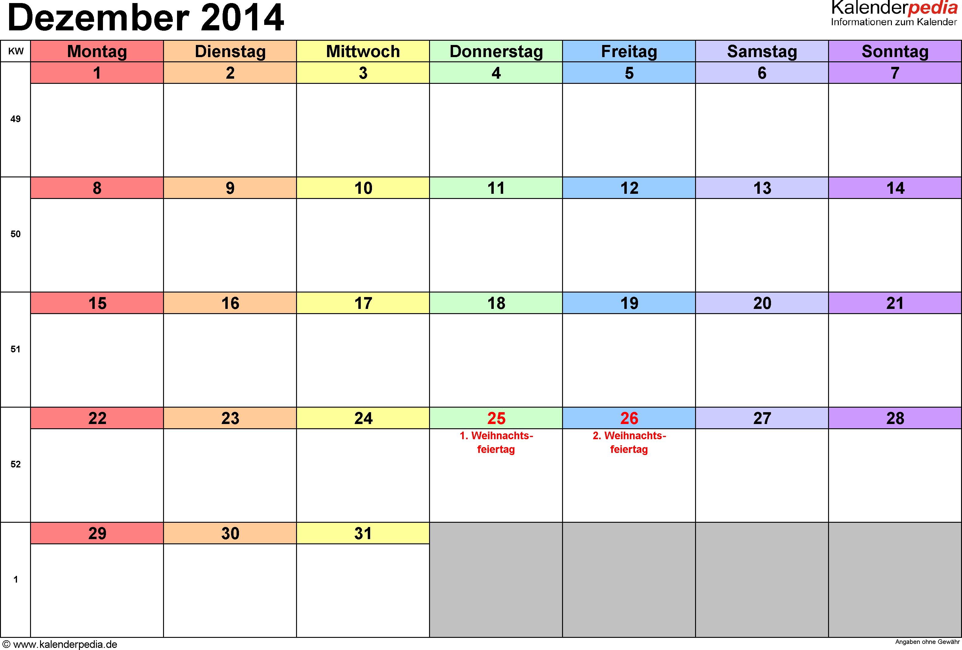 Kalender Dezember 2014 (Querformat) als Excel-Vorlage
