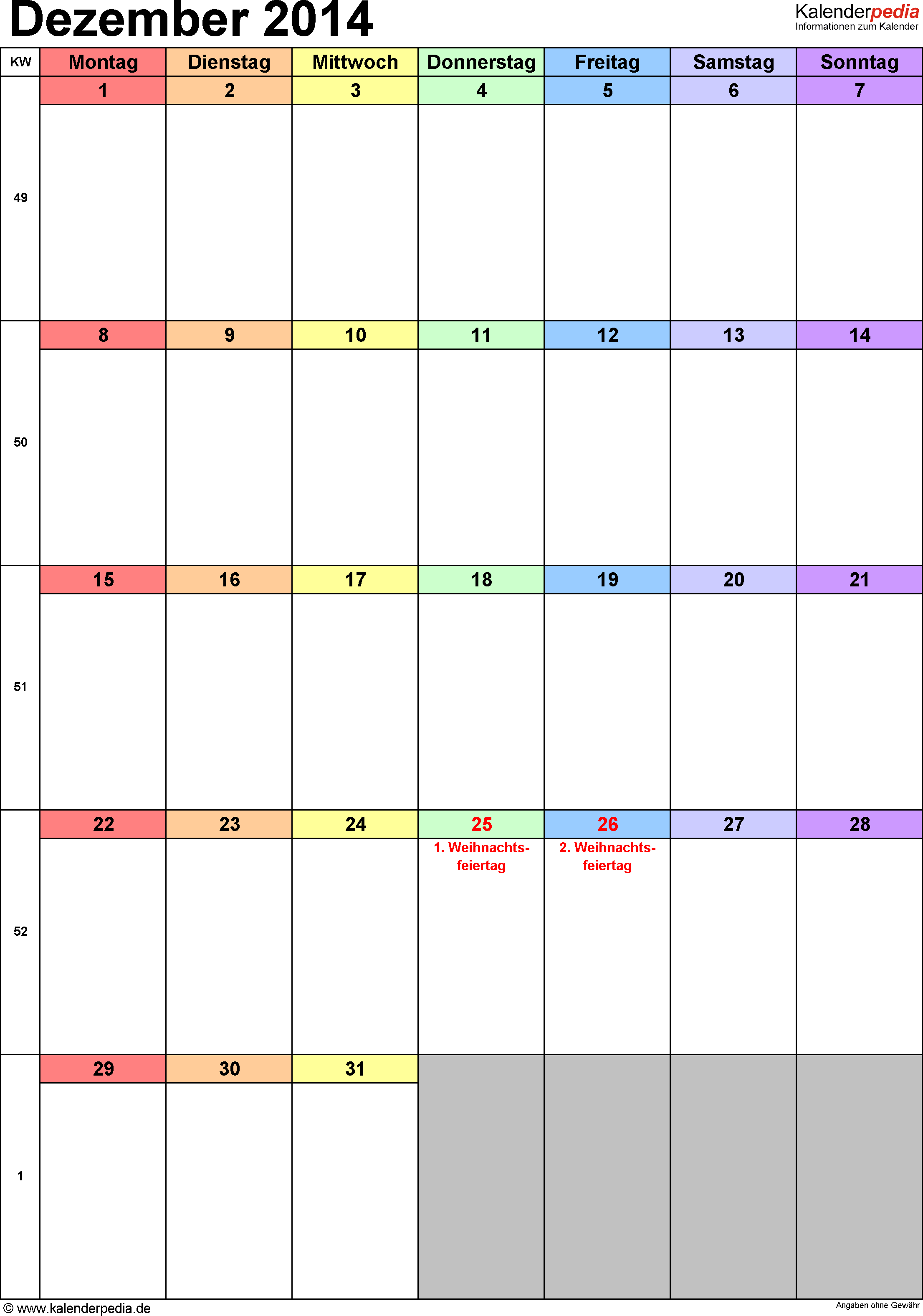 Kalender Dezember 2014 (Hochformat) als Excel-Vorlage