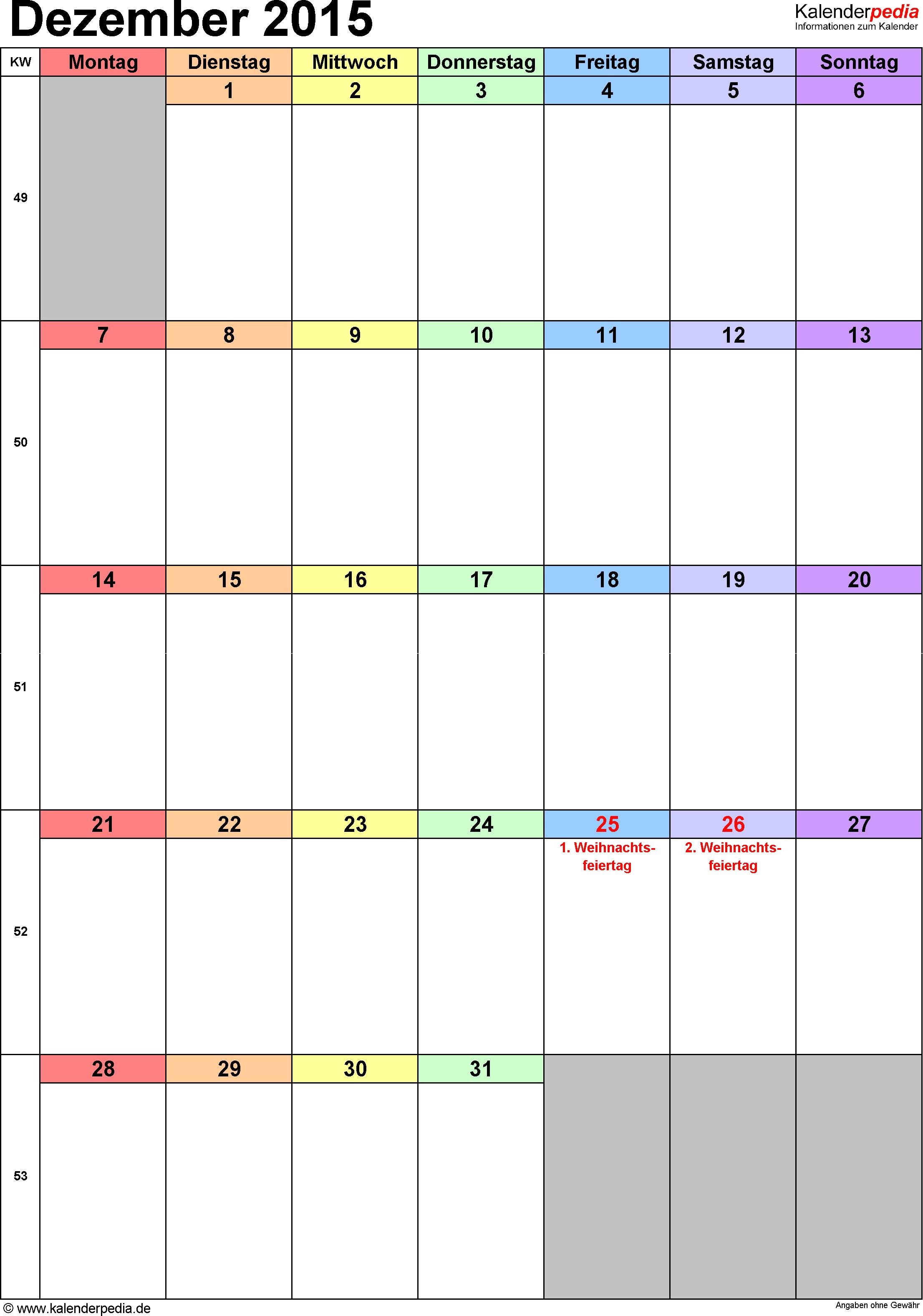 Kalender Dezember 2015 (Hochformat) als Excel-Vorlage