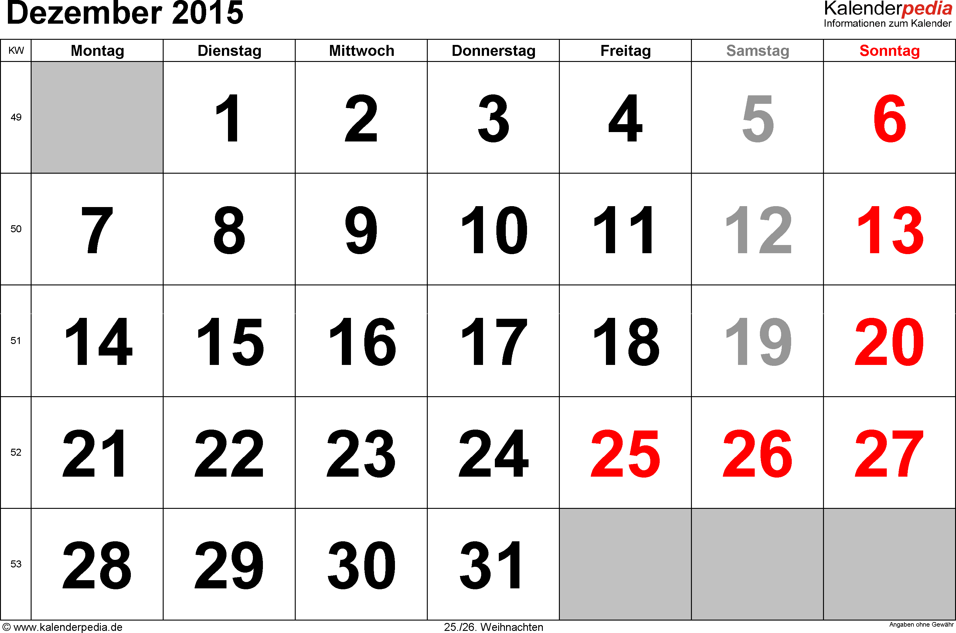 Kalender December 2015 im Querformat, grosse Ziffern