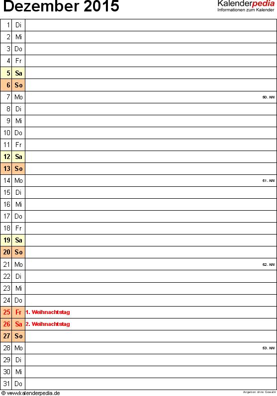 Kalender Dezember 2015 (Hochformat) als PDF-Vorlage