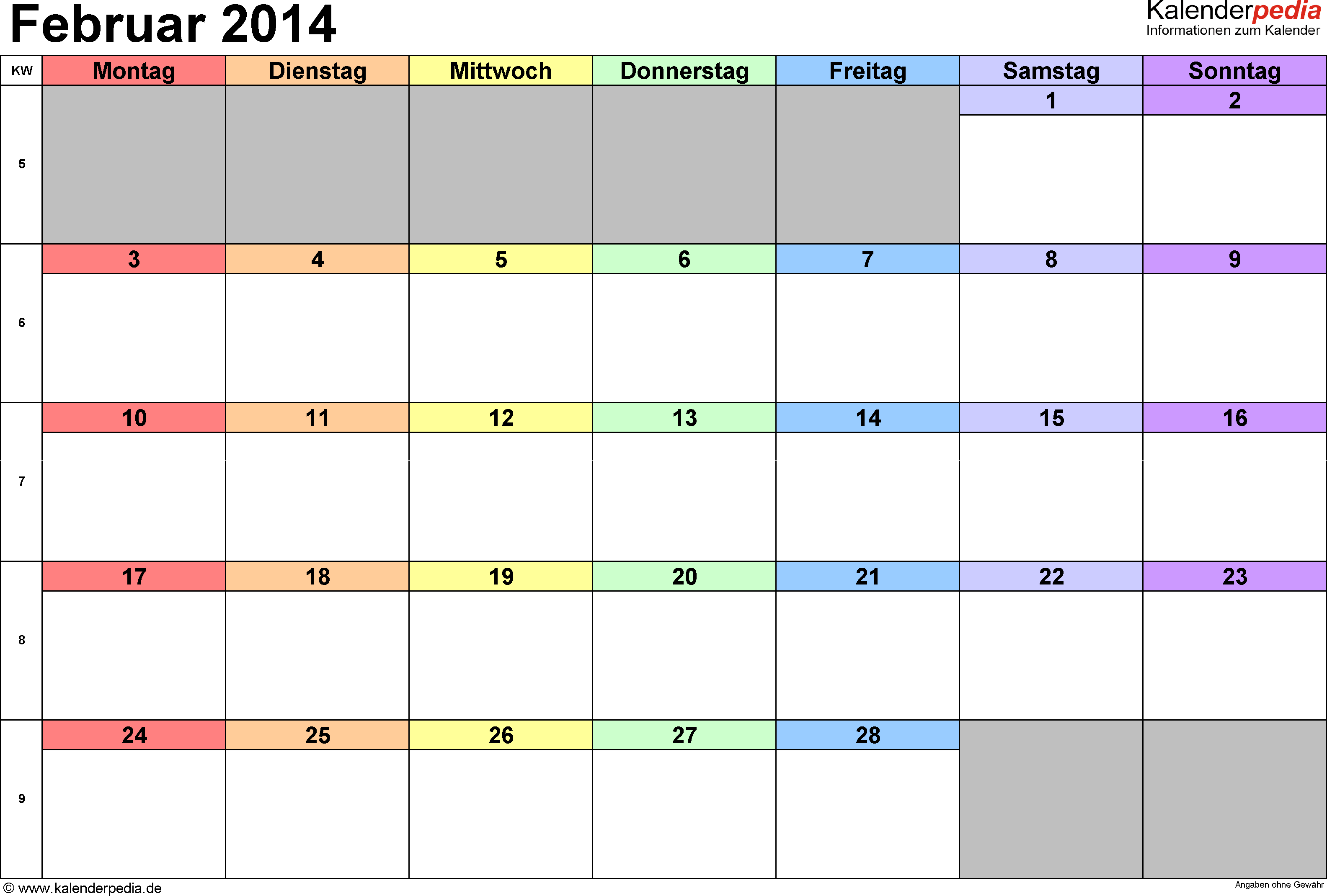 Kalender Februar 2014 (Querformat) als Word-Vorlage