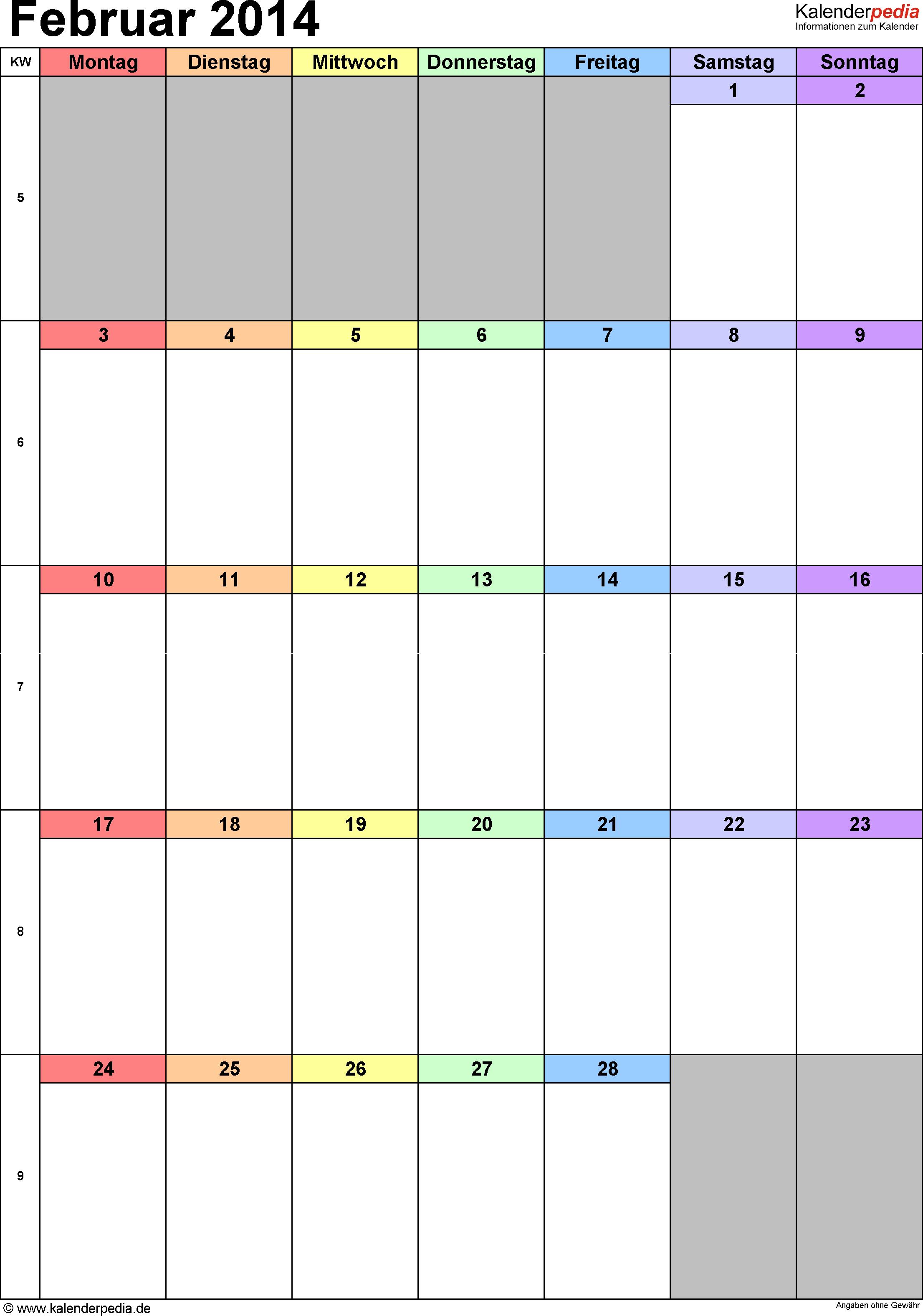 Kalender Februar 2014 (Hochformat) als Excel-Vorlage