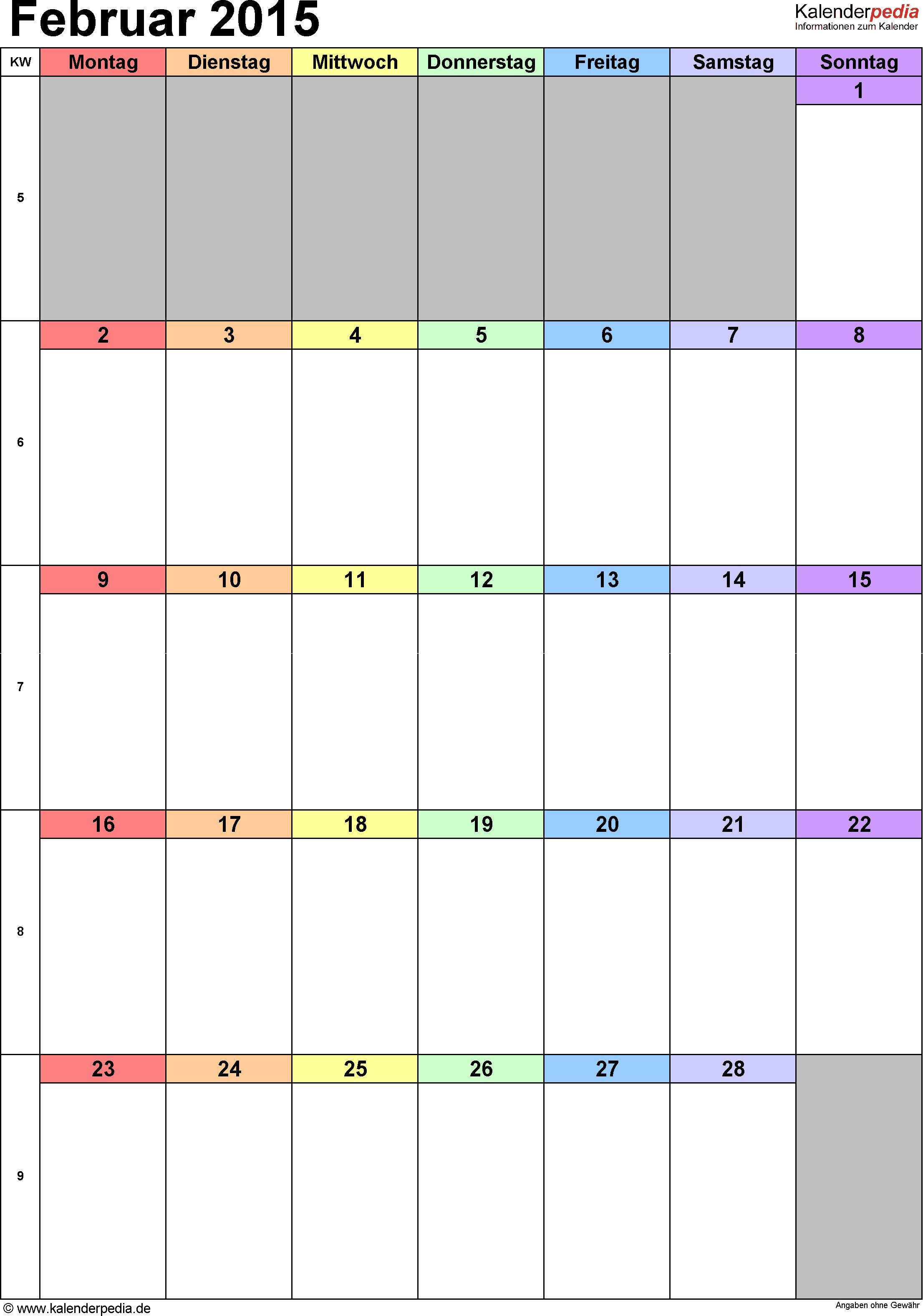 Kalender Februar 2015 (Hochformat) als Excel-Vorlage