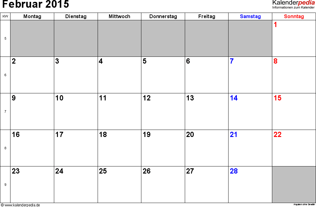 Kalender Februar 2015 im Querformat, kleine Ziffern