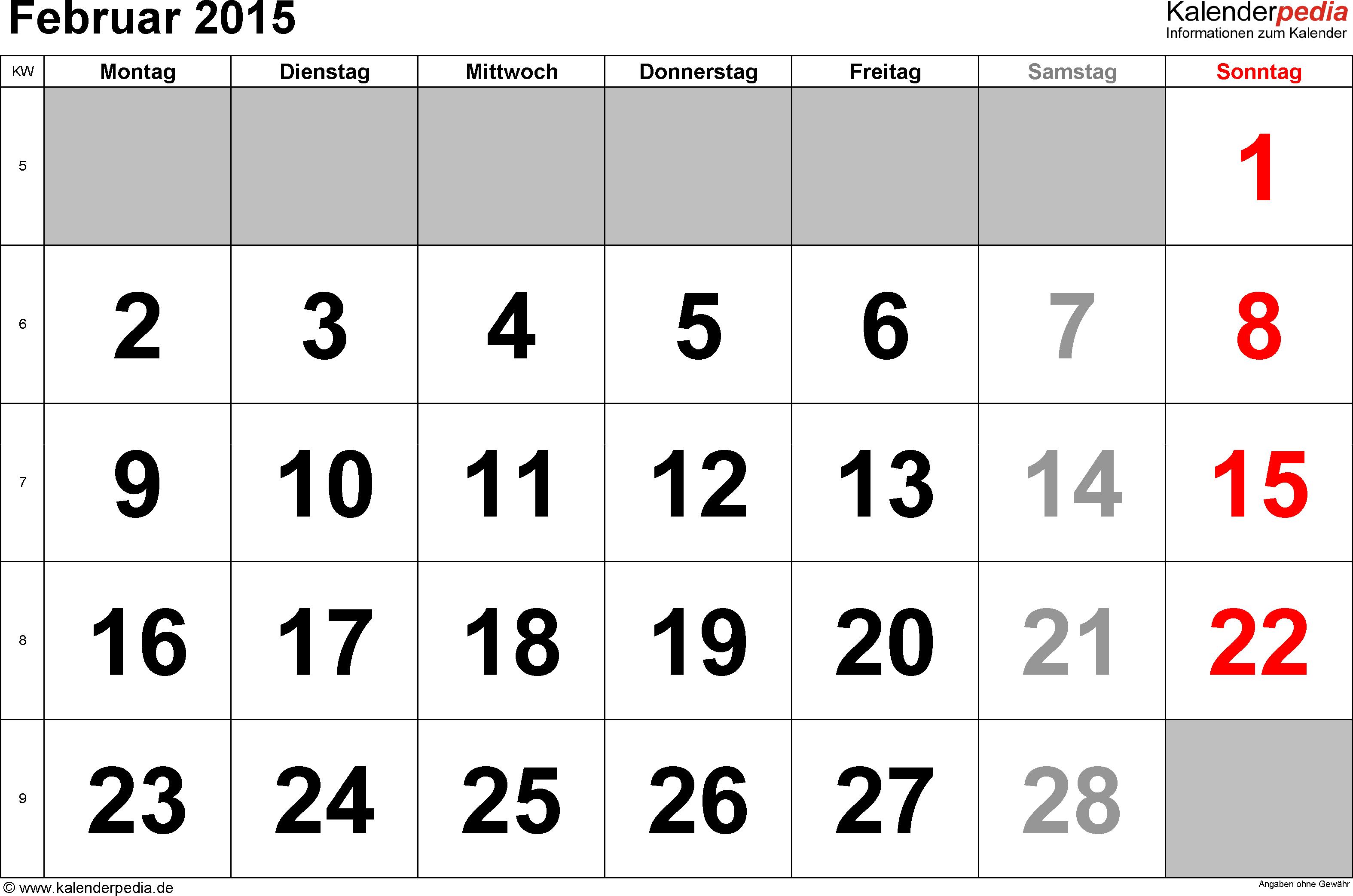 Kalender Februar 2015 im Querformat, grosse Ziffern