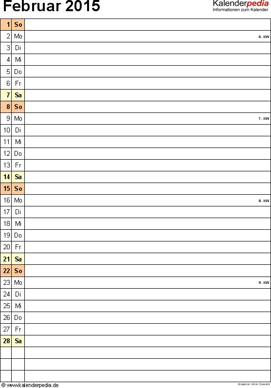 Kalender Februar 2015 (Hochformat) als PDF-Vorlage