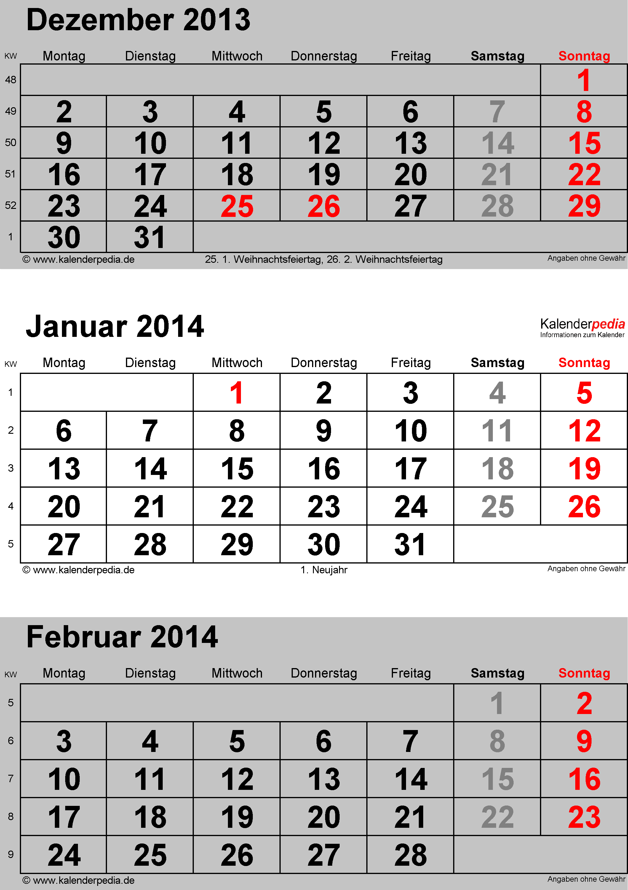 kalender januar 2014 als excel vorlagen. Black Bedroom Furniture Sets. Home Design Ideas