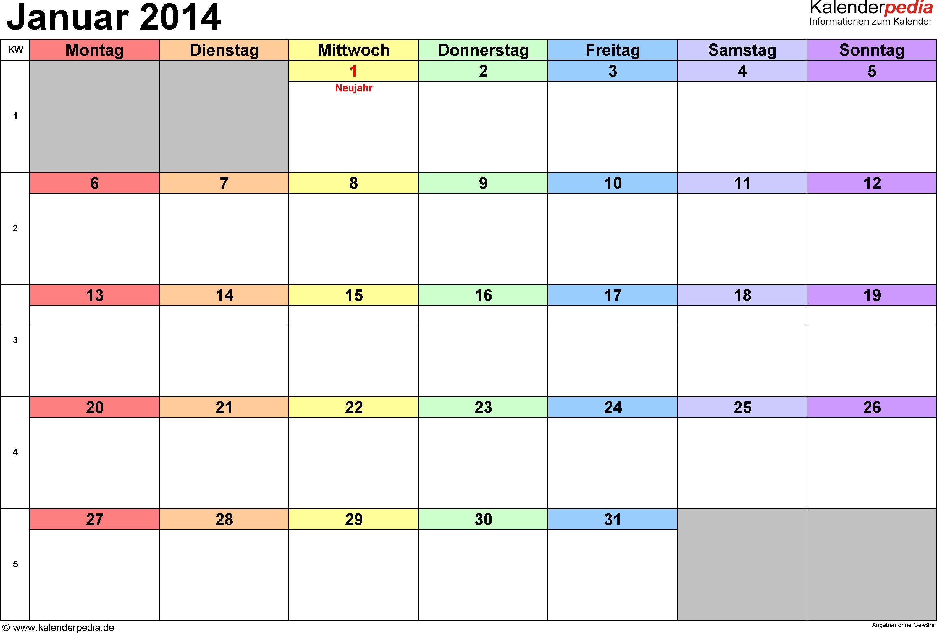 Kalender Januar 2014 (Querformat) als PDF-Vorlage