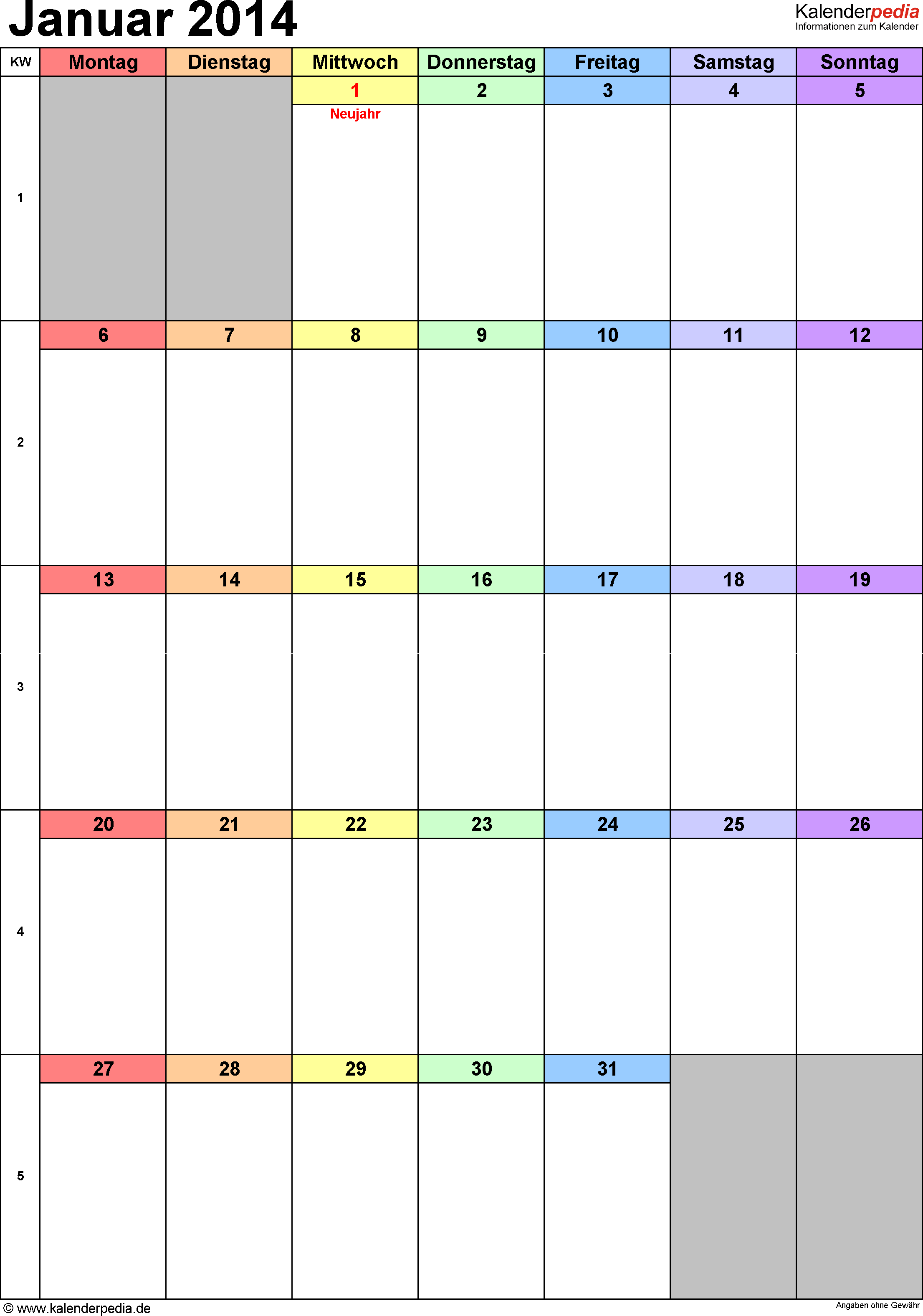 Kalender Januar 2014 (Hochformat) als PDF-Vorlage