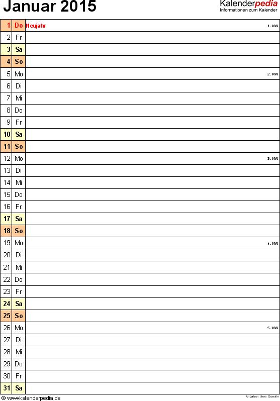 Kalender Januar 2015 (Hochformat) als Excel-Vorlage