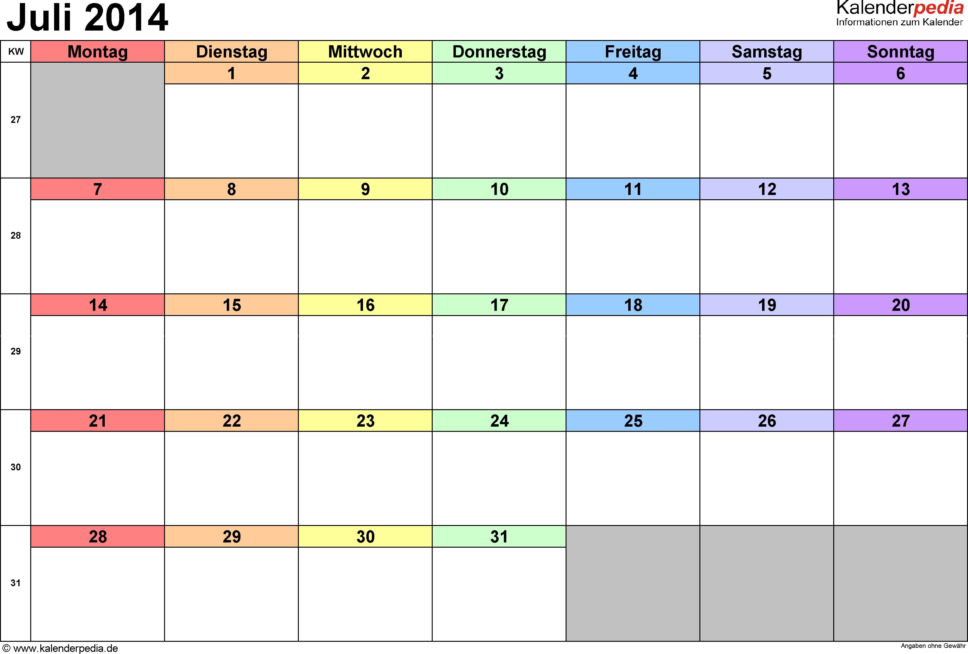 Kalender Juli 2014 (Querformat) als PDF-Vorlage