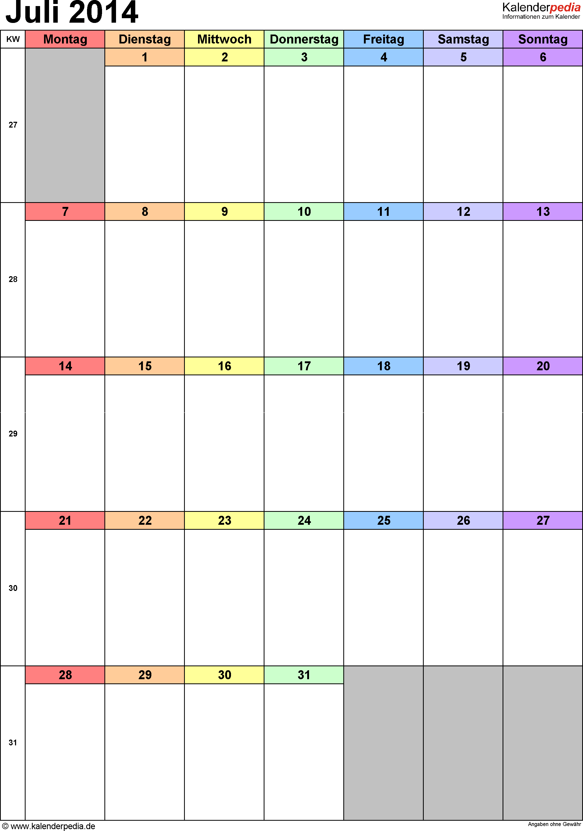 Kalender Juli 2014 (Hochformat) als PDF-Vorlage