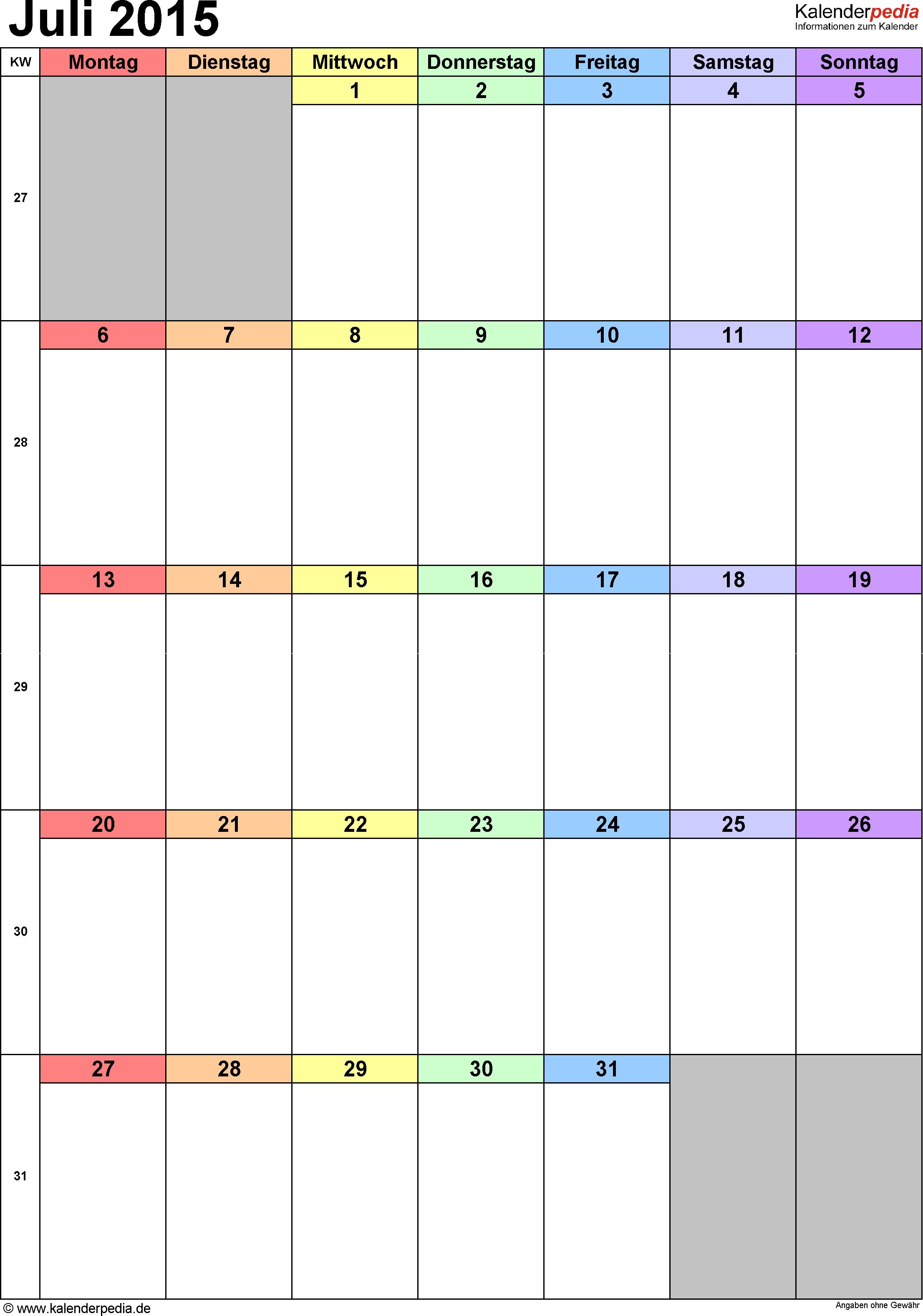 Kalender Juli 2015 (Hochformat) als PDF-Vorlage