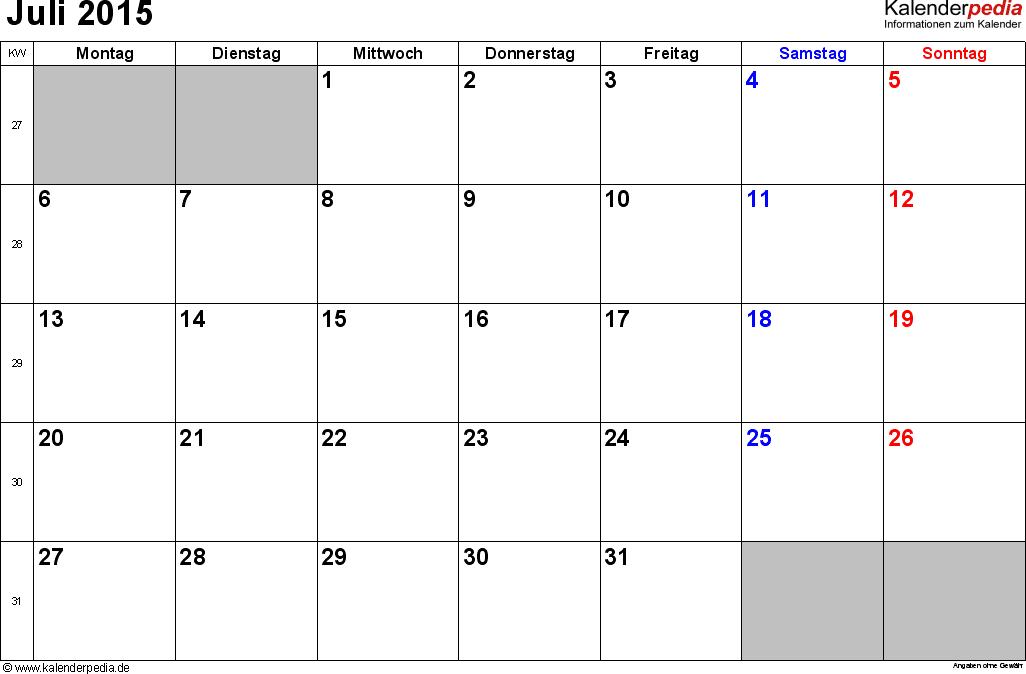 Kalender Juli 2015 im Querformat, kleine Ziffern