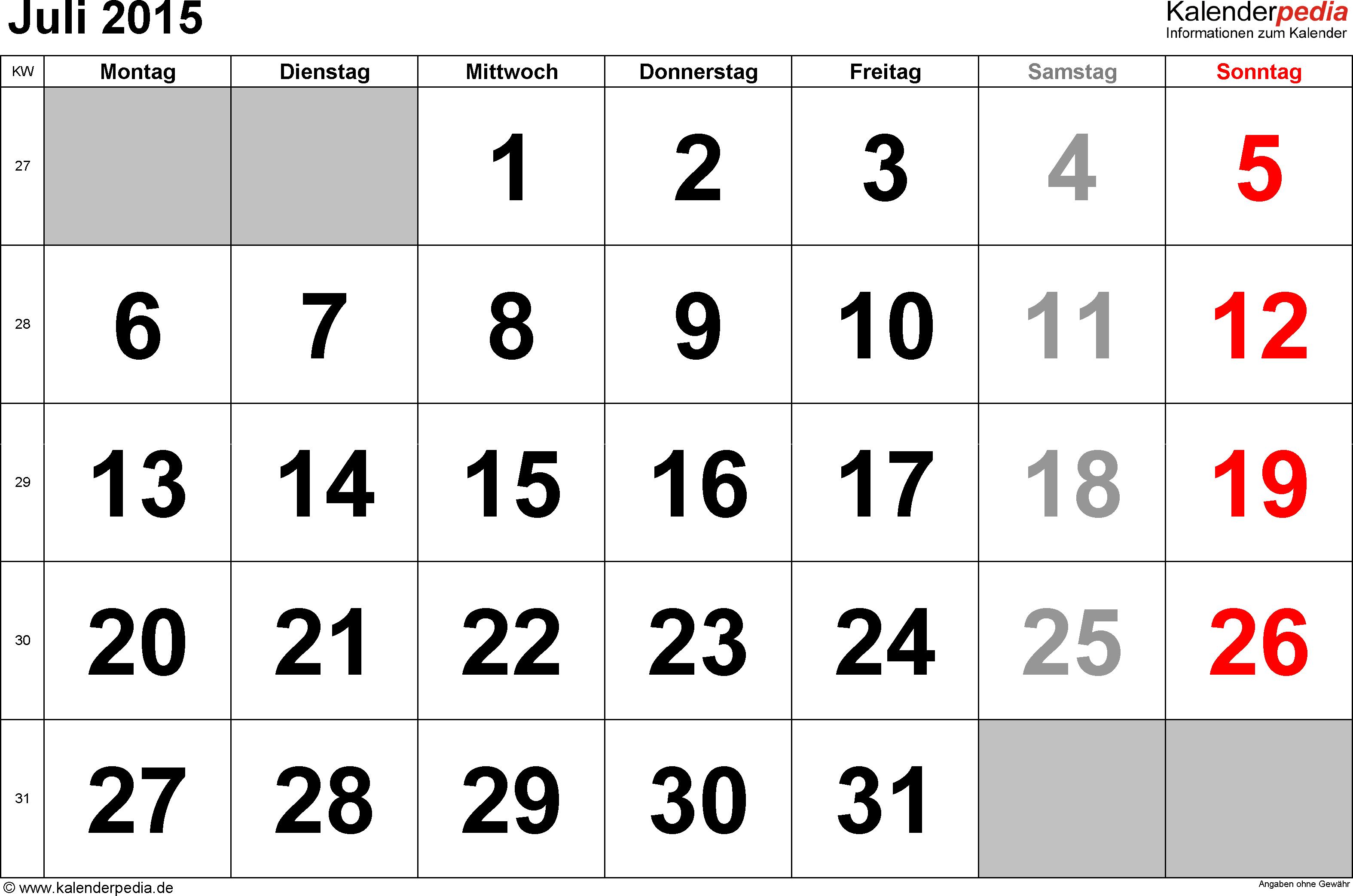 Kalender Juli 2015 im Querformat, grosse Ziffern