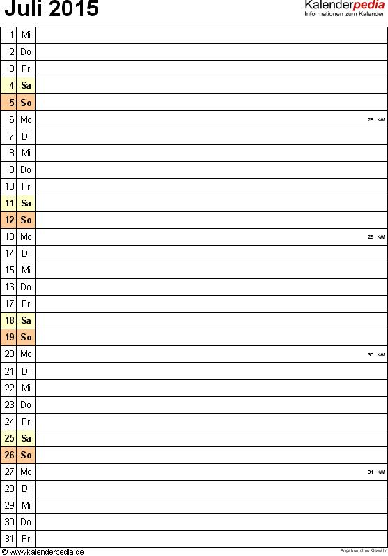 Kalender Juli 2015 (Hochformat) als Excel-Vorlage
