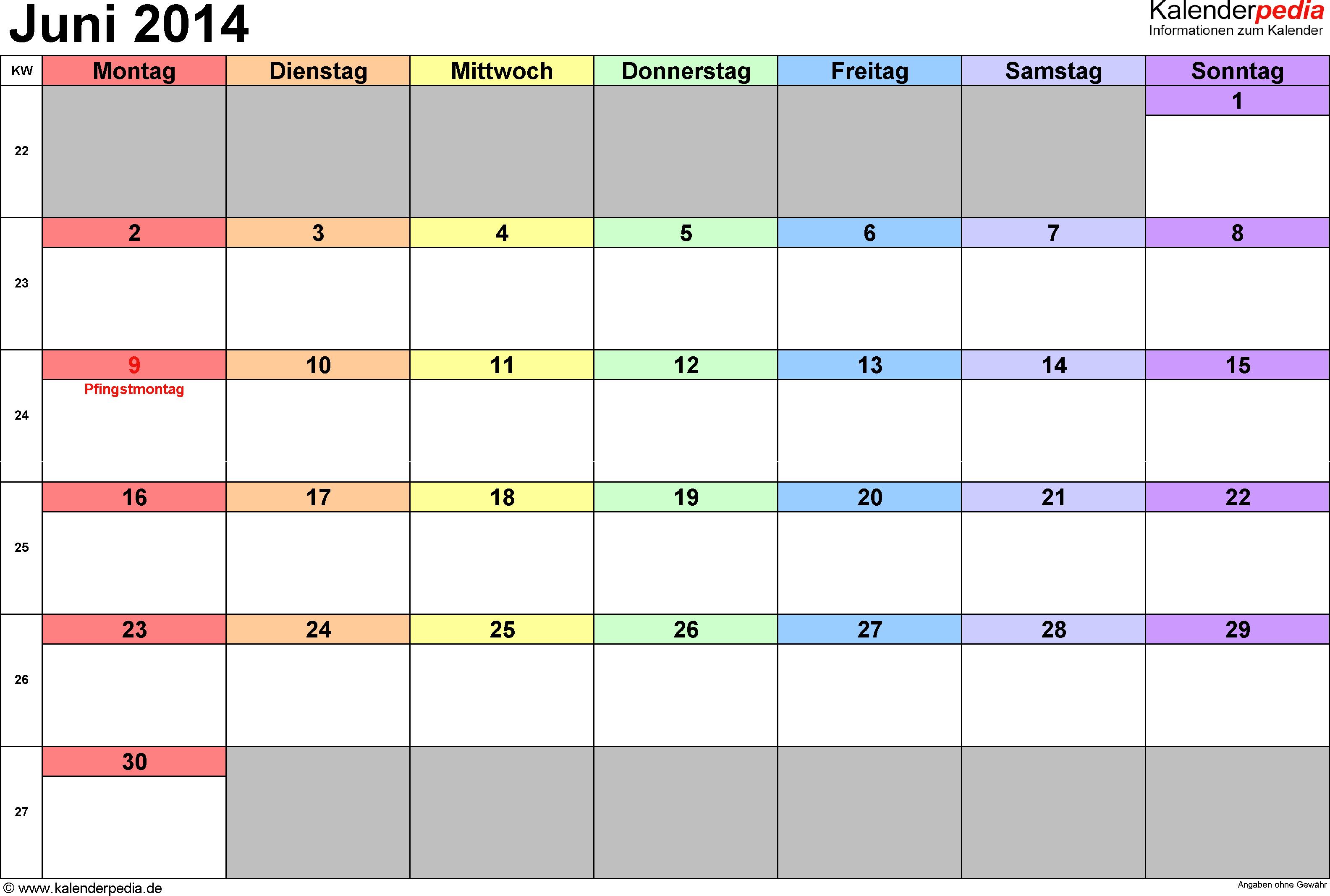 Kalender Juni 2014 (Querformat) als Excel-Vorlage