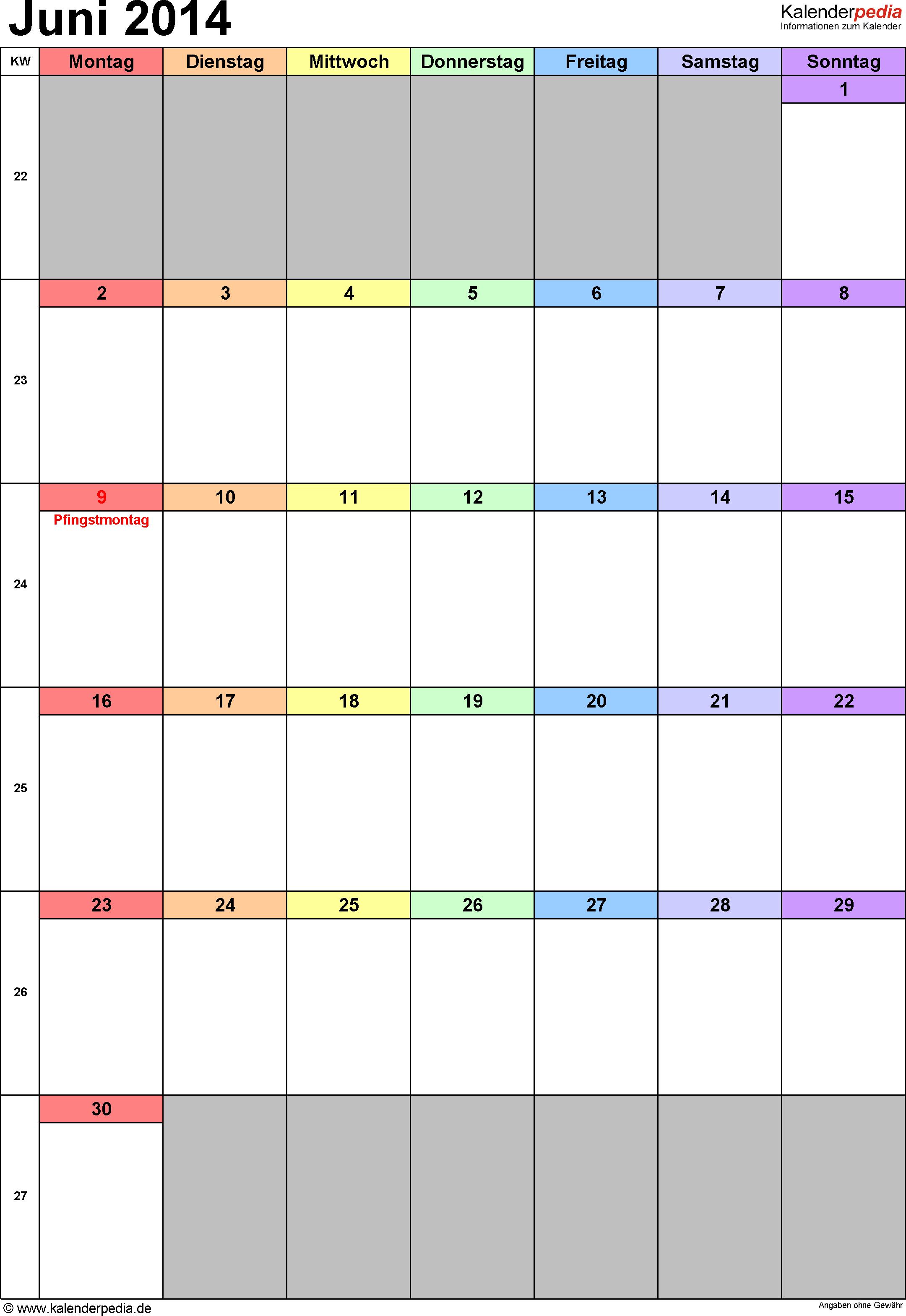 Kalender Juni 2014 (Hochformat) als PDF-Vorlage
