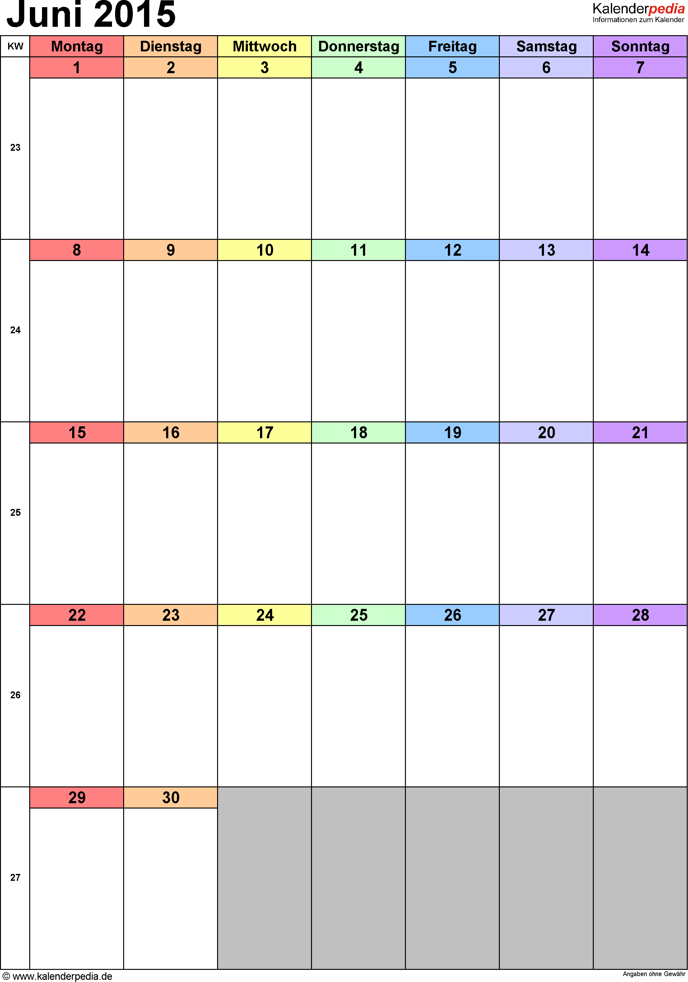 Kalender Juni 2015 (Hochformat) als Excel-Vorlage